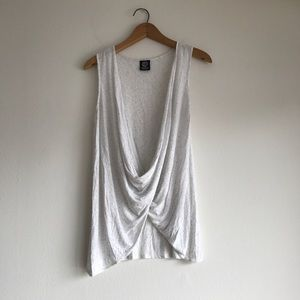 Bobeau Twist Tank Top Light Heather Gray Medium